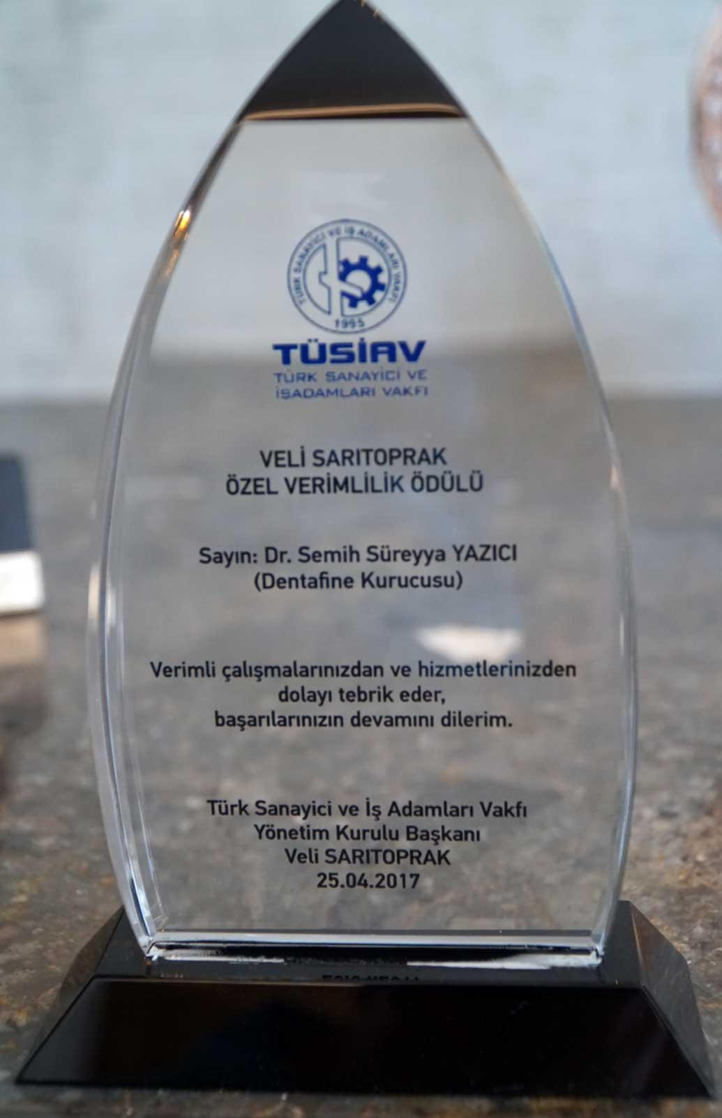 Tüsiav Özel Verimlilik Ödülü - Dr. semih Süreyya YAZICI